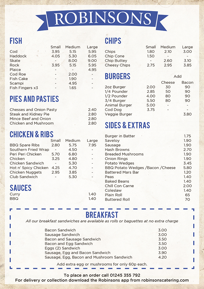 Robinsons of Chelmsford Menu